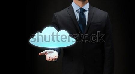 Empresario nube proyección negocios virtual Foto stock © dolgachov