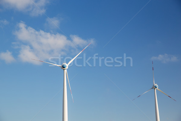 Blauwe hemel hernieuwbare energie technologie macht Blauw Stockfoto © dolgachov