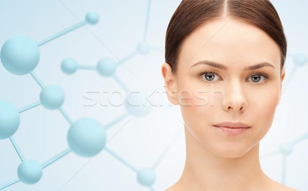 Gyönyörű fiatal nő arc molekulák szépség emberek Stock fotó © dolgachov