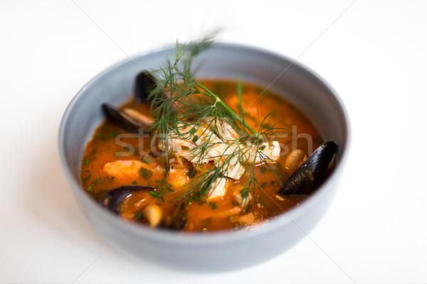 Deniz ürünleri çorba balık mavi çanak gıda Stok fotoğraf © dolgachov
