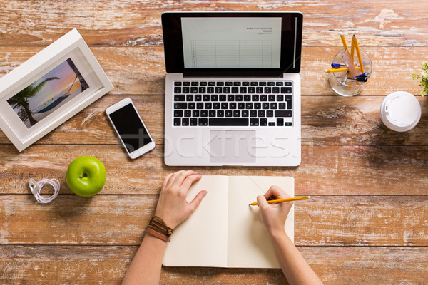 woman hands writing to notebook at home office Stock photo © dolgachov