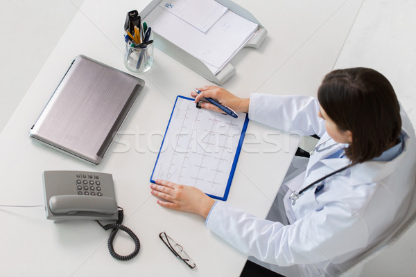 doctor with cardiogram sitting at table Stock photo © dolgachov