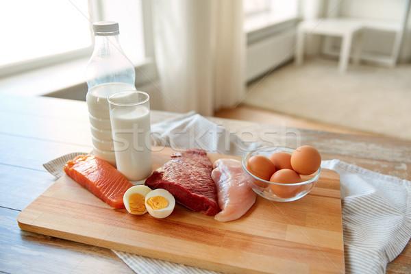Naturales proteína alimentos mesa de madera alimentación saludable dieta Foto stock © dolgachov