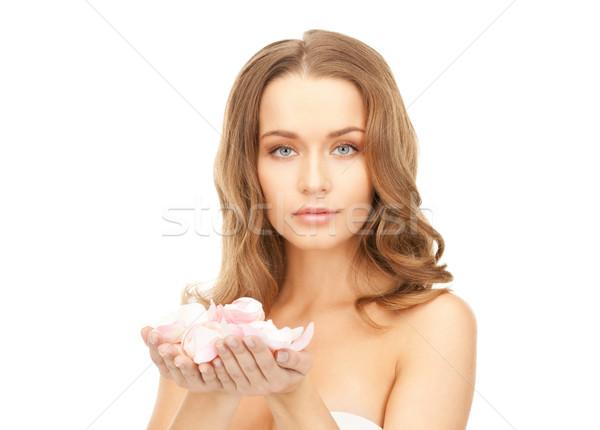 美人 バラの花びら 画像 女性 少女 バラ ストックフォト © dolgachov