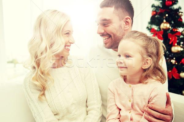 Stockfoto: Gelukkig · gezin · home · kerstboom · familie · christmas · vakantie