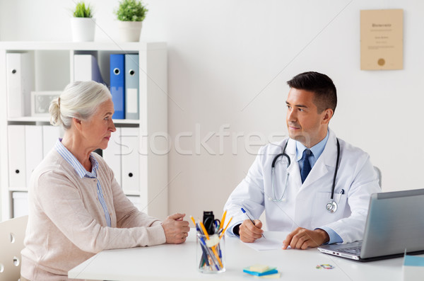 woman and doctor with prescription at clinic Stock photo © dolgachov