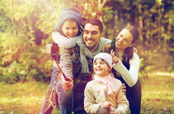 Familia feliz palo bosques viaje turismo Foto stock © dolgachov
