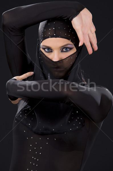 Ninja quadro mulher escuro menina preto Foto stock © dolgachov