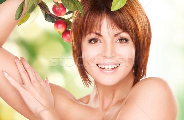 幸せ 女性 リンゴ 小枝 画像 顔 ストックフォト © dolgachov