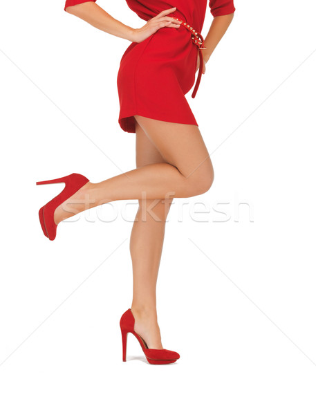 picture of woman in red dress on high heels Stock photo © dolgachov