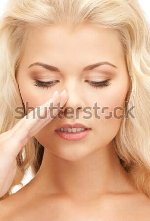 Aggódó nő hosszú haj arc kezek bőr Stock fotó © dolgachov