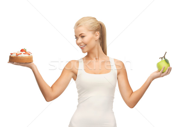 Kadın elma kek resim vücut Stok fotoğraf © dolgachov