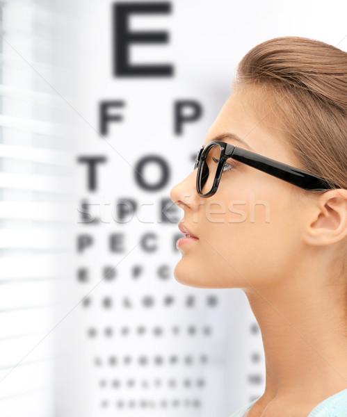 Femme lunettes oeil graphique médecine vision Photo stock © dolgachov