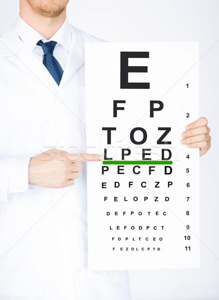 male ophthalmologist with eye chart Stock photo © dolgachov