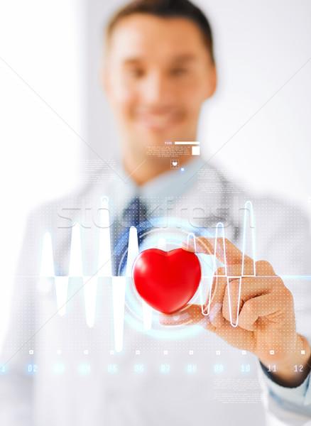 Doctor de sexo masculino corazón cardiograma salud medicina hombre Foto stock © dolgachov