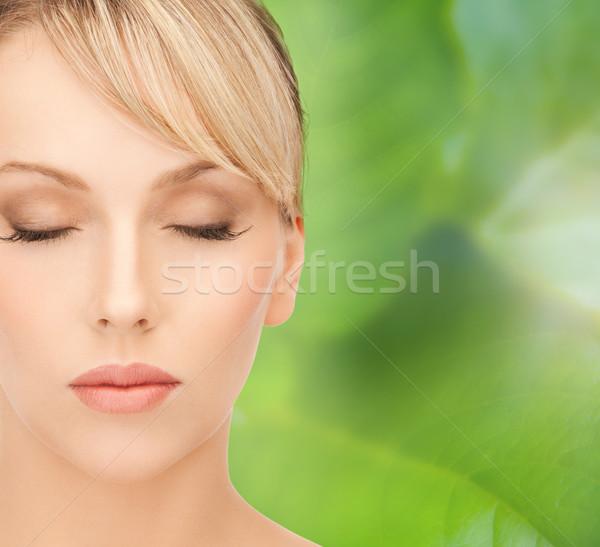 красивая женщина светлые волосы лице женщину модель расслабиться Сток-фото © dolgachov