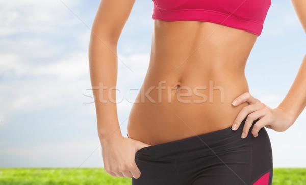 Nő képzett diéta fitnessz közelkép kép Stock fotó © dolgachov