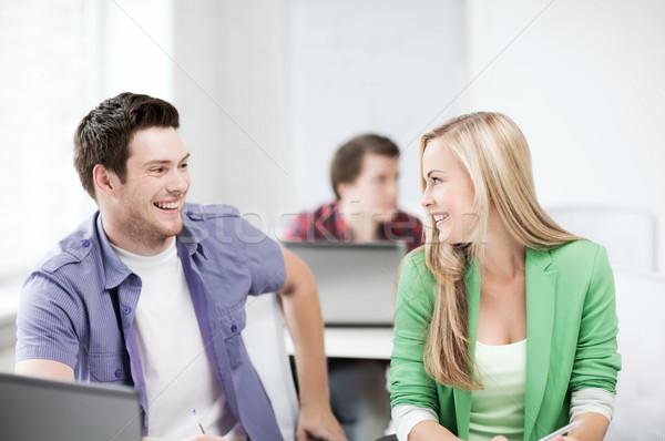 Сток-фото: улыбаясь · студентов · глядя · другой · школы · образование