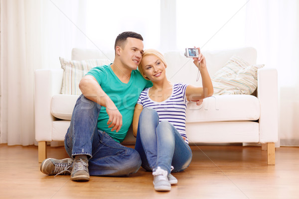 улыбаясь пару фотография цифровая камера любви Сток-фото © dolgachov