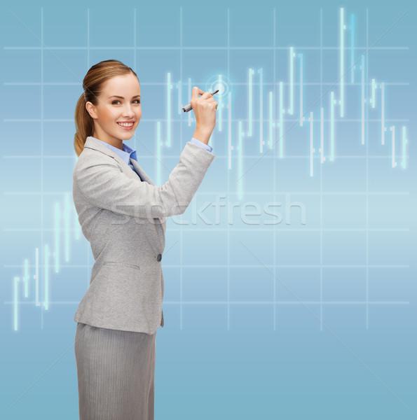 Zakenvrouw tekening forex grafiek lucht kantoor Stockfoto © dolgachov