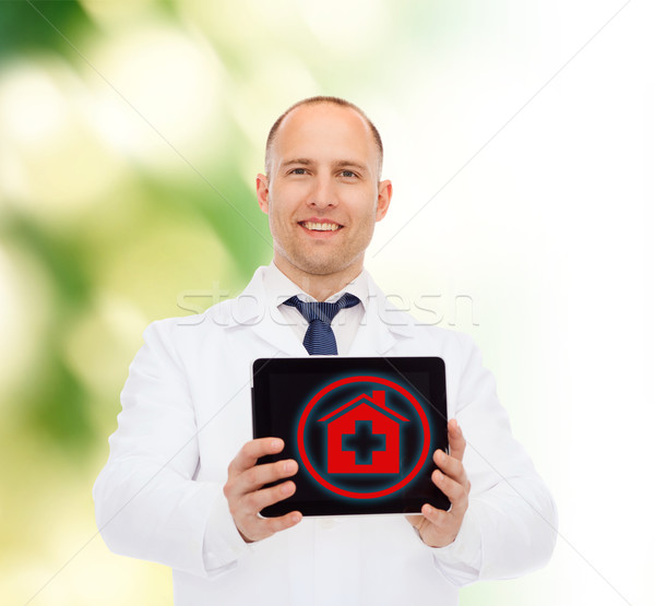 Foto stock: Sonriendo · doctor · de · sexo · masculino · medicina · profesión · medio · ambiente