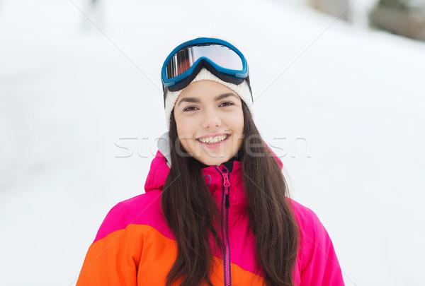 Boldog fiatal nő síszemüveg kint tél szabadidő Stock fotó © dolgachov
