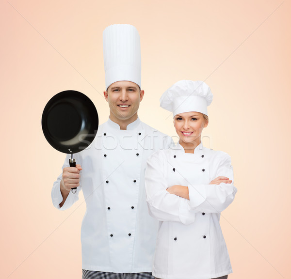 happy chefs or cooks couple with frying pan Stock photo © dolgachov