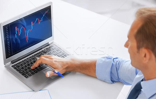 Biznesmen pracy forex wykres biuro działalności Zdjęcia stock © dolgachov