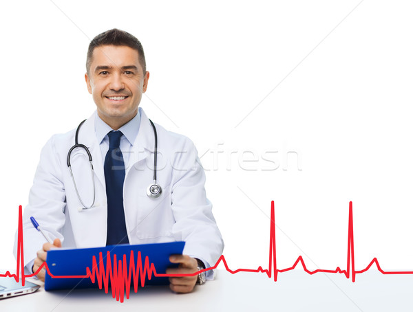 happy doctor with clipboard and cardiogram pattern Stock photo © dolgachov