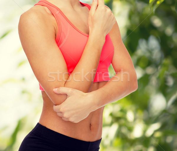Vrouw pijn elleboog gezondheidszorg fitness Stockfoto © dolgachov
