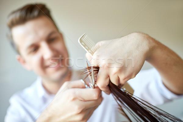 Stylist olló vág haj tippek szalon Stock fotó © dolgachov
