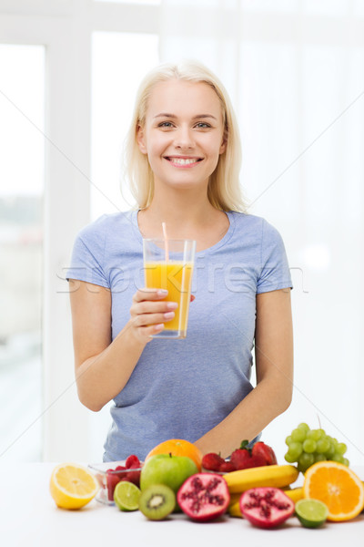 smiling woman drinking fruit juice at home Stock photo © dolgachov