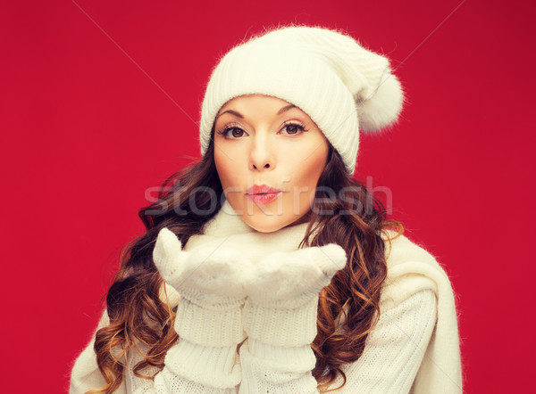 Stok fotoğraf: Mutlu · kadın · kış · elbise · avuç · içi