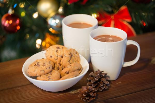 Stock fotó: Zab · sütik · forró · csokoládé · karácsonyfa · ünnepek · tél