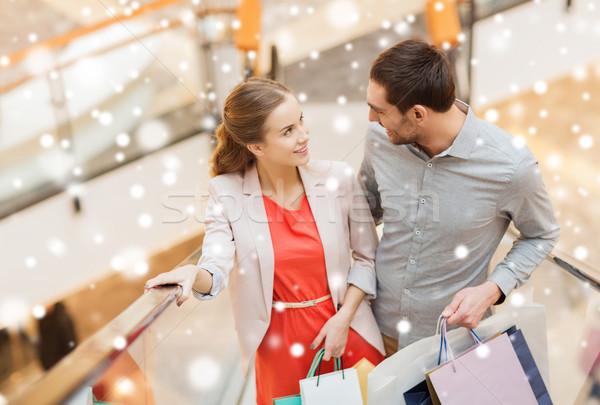 Coppia scala mobile mall vendita consumismo Foto d'archivio © dolgachov