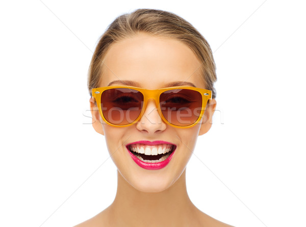 happy young woman in sunglasses with pink lipstick Stock photo © dolgachov