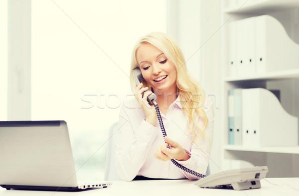 Mosolyog üzletasszony diák hív telefon oktatás Stock fotó © dolgachov