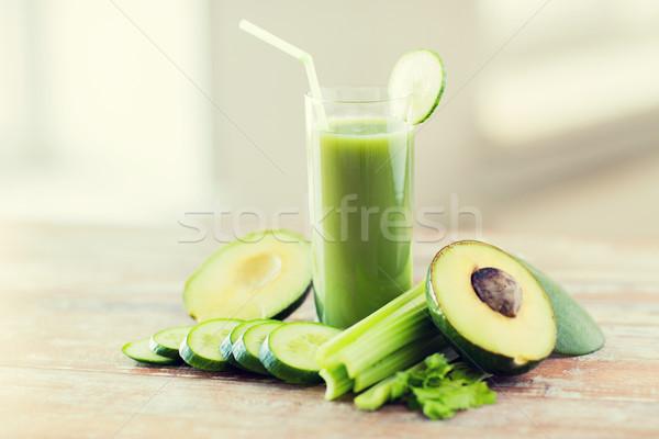 Stock fotó: Közelkép · friss · zöld · dzsúz · üveg · zöldségek