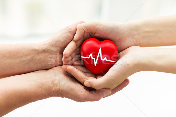 man hand giving red heart to woman Stock photo © dolgachov