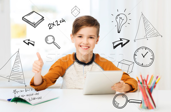 happy boy with tablet pc showing thumbs up at home Stock photo © dolgachov