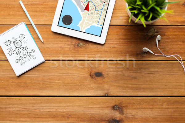 close up of tablet pc with gps navigtor map Stock photo © dolgachov