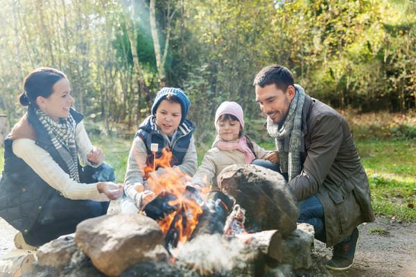 Gelukkig gezin heemst kampvuur camping reizen toerisme Stockfoto © dolgachov