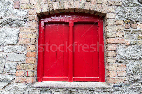 Bağbozumu pencere eski taş duvar mimari Stok fotoğraf © dolgachov