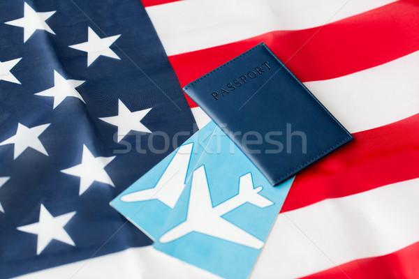 Drapeau américain passeport air billets Voyage tourisme Photo stock © dolgachov