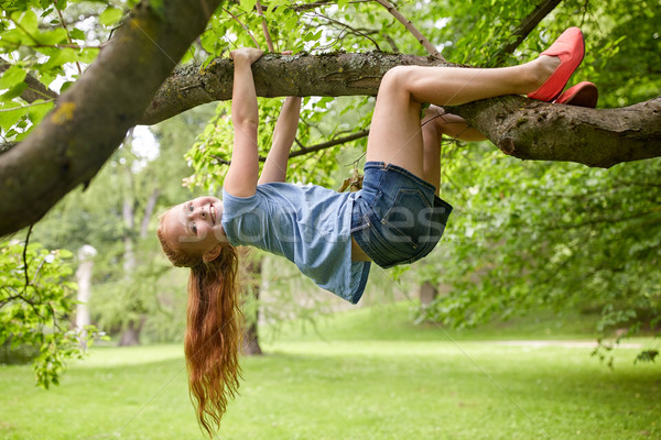 happy little girl hanging on tree in summer park Stock photo © dolgachov