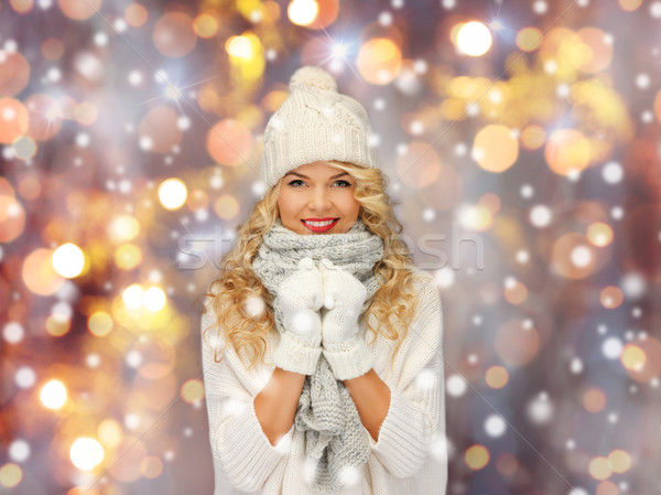 beautiful woman in winter hat, scarf and mittens Stock photo © dolgachov