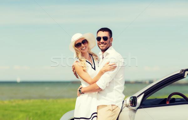 Stockfoto: Gelukkig · man · vrouw · auto · zee