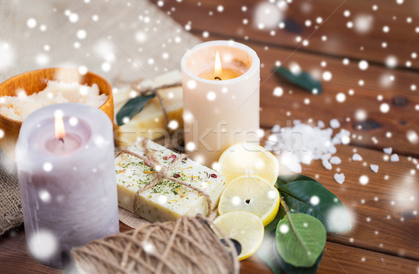 natural soap and candles on wood Stock photo © dolgachov