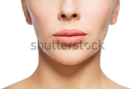 closeup of woman face and lips Stock photo © dolgachov