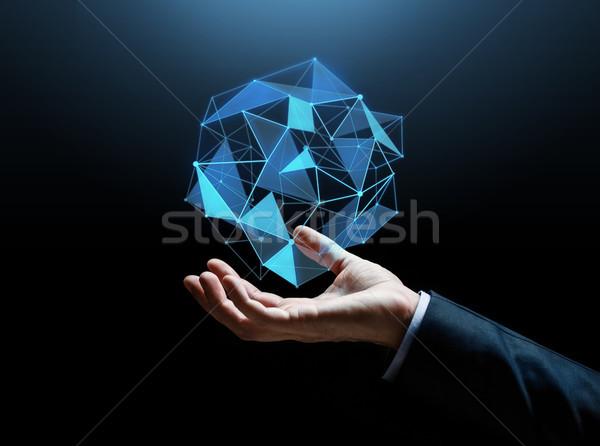 Zakenman hand hologram zakenlieden cyberspace Stockfoto © dolgachov